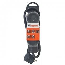 Legrand LEG50261 Rallonge multiprise standard 6 prises 2 p/ôles avec terre et cordon de 1,5 m Noir