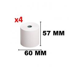 Lot De 4 Rouleaux De Caisse - Papier Thermique 57 X 60 Pour Calculatrices à Ribbon, Imprimantes Et Caisses Enregistreuses
