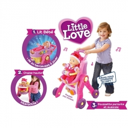 LITTLE LOVE - MA POUSSETTE 3 EN 1 INTERACTIVE