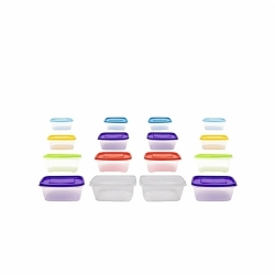 16 Boites de rangement alimentaire (3L / 1.75 L / 1L / 0.5L) Pour Congélateur/Frigo - Plastique - Multicolore - TAJPLAST