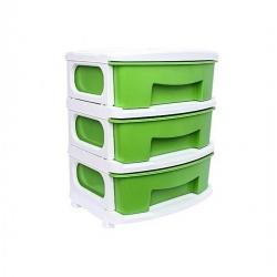 Armoire De Rangement - Spacieux - 3 Tiroirs - Plastique - Vert/Blanc - TAJPLAST