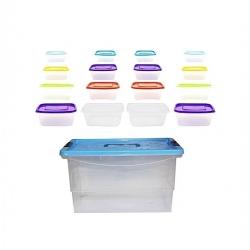 Lot De 17 Récipients De Stockage - Boite Transparente - Plastique - Couvercle Multicolore - Tajplast