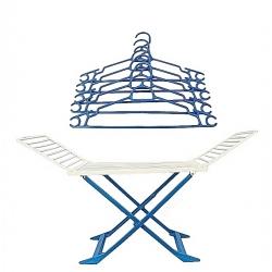 Séchoir à Linge + 5 Cintres OFFERTS - Spacieux - Pliable - Plastique - Bleu -Tajplast