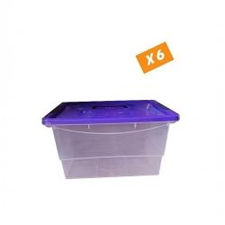Lot De 6 Boites De Rangement Grande Capacité 23L - Boite Transparente - Plastique -Tajplast