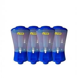 Paquet De 4 Distributeurs De Boissons - 9 Litres - Plastique - Tube à Glace - Transparent/Bleu-TAJPLAST