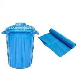 Kit Poubelle – Corbeille 60L + 1 Paquet De 10 Sacs à Ordures De 100L – Plastique – Multi-Usage – Bleu - TAJPLAST