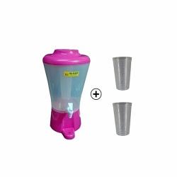 Distributeur De Boisson 9 Litres + 2 Verres OFFERTS - Plastique - Tube à Glace - Rose - TAJPLAST