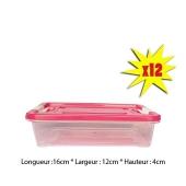 Lot De 12 Boites De Conservation 0,5L Pour Repas - Boite Transparente - Plastique - Couvercle Rose - TAJPLAST