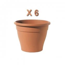 Pot de fleur x 6 couleur Terre en plastique avec coupole - 20 x 20 cm TAJPLAST