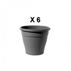 Pot de fleur x 6 couleur bois noir en plastique avec coupelle - TAJPLAST - 20 x 20 cm