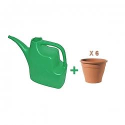 Pack arrosoir vert en plastique + 6 pots de fleurs couleur terre en plastique - TAJPLAST