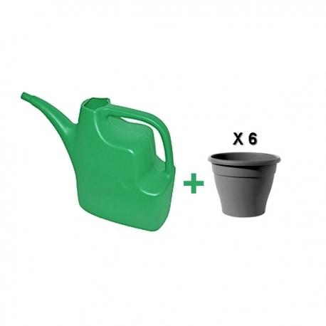 Pack arrosoir vert en plastique + 6 pots de fleurs couleur bois noir en plastique - TAJPLAST