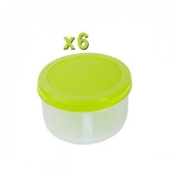 Boite ronde 500ml X6 en plastique - TAJPLAST