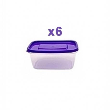 6 Boites de rangement alimentaire 1.75 L - Plastique - Multicolore - TAJPLAST