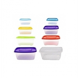 8 Boites de rangement alimentaire (3L / 1.75 L / 1L / 0.5L) - Plastique - Multicolore - TAJPLAST
