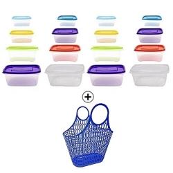 16 Boites de rangement alimentaire (3L / 1.75 L / 1L / 0.5L)- Plastique - Multicolore + Sac à main en plastique - TAJPLAST