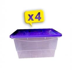 Lot De 4 Boites De Rangement Grande Capacité 23L - Boite Transparente - Plastique -TAJPLAST