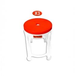Tabouret rouge et blanc x 3 en plastique -TAJPLAST