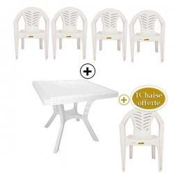 Table Royale + 4 chaises en plastique et une chaise offerte - BLANC - TAJPLAST