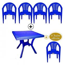 Table Royale + 4 chaises en plastique et une chaise offerte - BLEU- TAJPLAST