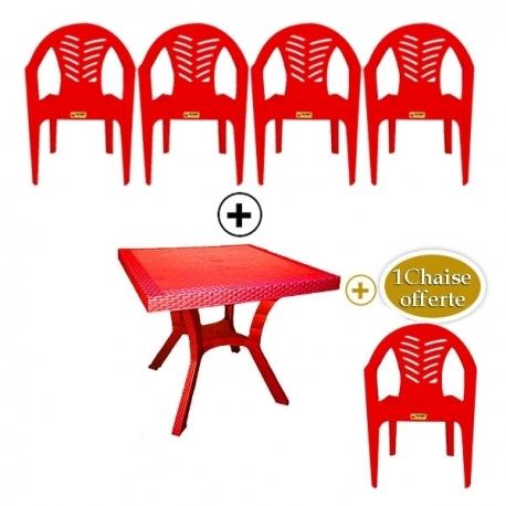 Table Royale + 4 chaises en plastique et une chaise offerte - Rouge - TAJPLAST