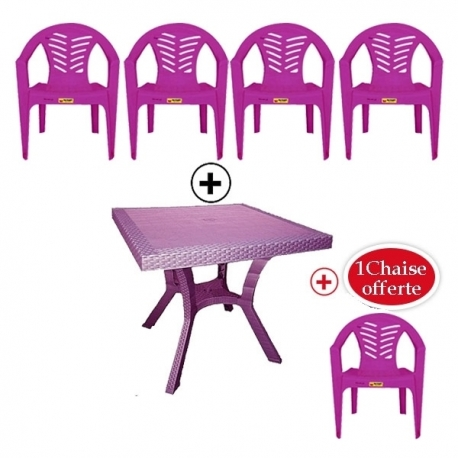 Table Royale + 4 chaises en plastique et une chaise offerte - VIOLET - TAJPLAST
