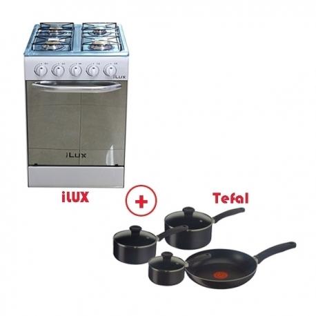 PACK CUISSON iLUX - Cuisinière iLUX - LX-40W - 4 Feux - Brûleur à Gaz + Batterie de cuisine TEFAL 7 Ps - LXDFE