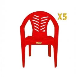 Chaise palmier - Ceremonie X 5 - ROUGE - TAJPLAST