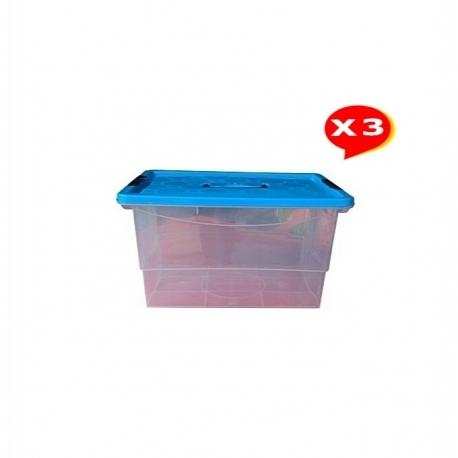 3 Boites De Rangement Grande Capacité 9L - Boite Transparente - Plastique - TAJPLAST