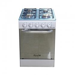 iLUX - Cuisinière - LX-40W - 4 Feux - Brûleur à Gaz - Hauteur 60cm - Blanc