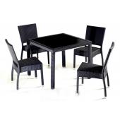 Salon de jardin en résine tressée - Table + 4 chaises