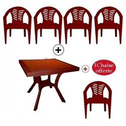 Table Royale + 4 chaises en plastique et une chaise offerte - Marron Foncé - TAJPLAST