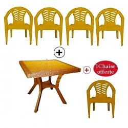 Table Royale + 4 chaises en plastique et une chaise offerte - MARRON CLAIR - TAJPLAST