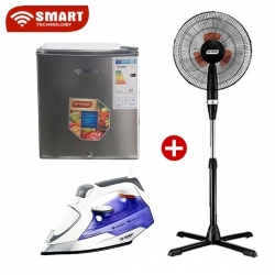 "PACK SMART TECHNOLOGY - RÉFRIGÉRATEUR COFFRE STR-50S +Ventilateurs 16"" - STV-447 + Fer à repasser - STPEF-3588C - STP-4"