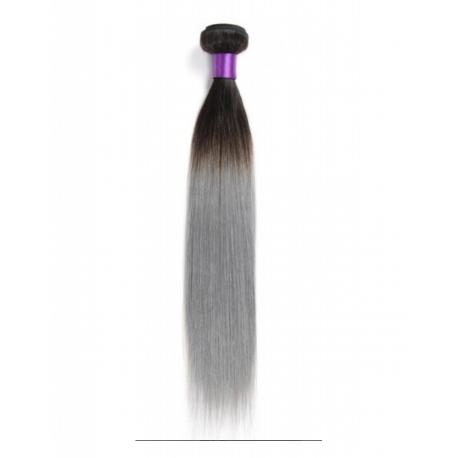 MECHE CHEVEUX HUMAIN LISSE LONGUEUR 14 couleur GRIS - TYPE BRESILIENNE - RAIDE BRAZILIAN HUMAN HAIR LONGUEUR 14 couleur GRIS