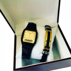 Coffret De Montre Homme + Bracelet - Noir - gold