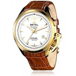 METAL CH Montre Acier Or Bracelet Cuir Crocro 8319.4