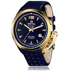 METAL CH Montre Acier Or Bracelet Cuir 8353.41