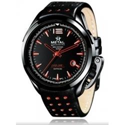 METAL CH Montre Acier noir Bracelet Cuir 8590.41