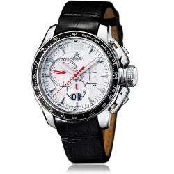 METAL CH Montre Acier 316L Argente bracelet en Cuir Croco 7110.44