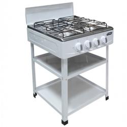 SMART TECHNOLOGY Cuisinière Avec Etagère – Gaz 4 Feux STC-507 – Blanc
