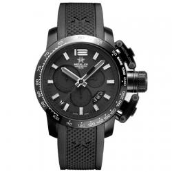 METAL CH Montre Acier noir bracelet en silicone 4425.44