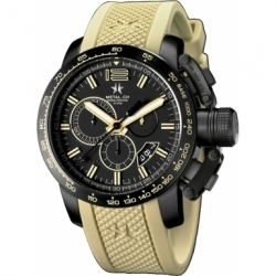 METAL CH Montre Acier Cadran noir Bracelet Silicone style sport 4429.44