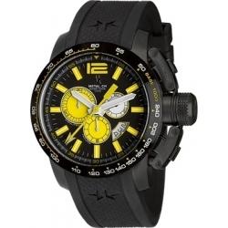 METAL CH Montre Acier Cadran noir bracelet silicone style sport 4460.47