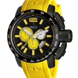 METAL CH Montre Acier Cadran noir Bracelet Silicone style sport 4469.47