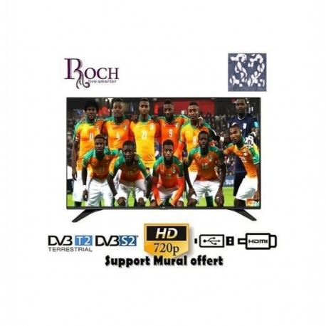"""Roch Slim TV LED - 32"""" - Décodeur Intégré - FHD - USB - HMDI - Garantie 24 Mois + Support Mural Offert"""