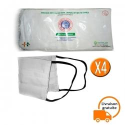 Lot de 4 cache nez en textile lavable et réutilisable blanc