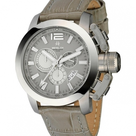 METAL CH Montre Acier Cadran Argente bracelet Cuir & Acier 1132.44S
