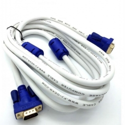 Cable VGA Male Vers Male 10 M- Blanc/ Bleu