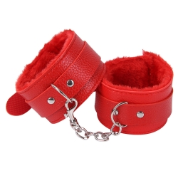 Menottes en cuir type fourrure SM - Rouge